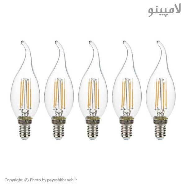 لامپ-ال-ای-دی-4-وات-اشکی-فیلامنتی-مودی-بسته-5-عددی-لامپینو